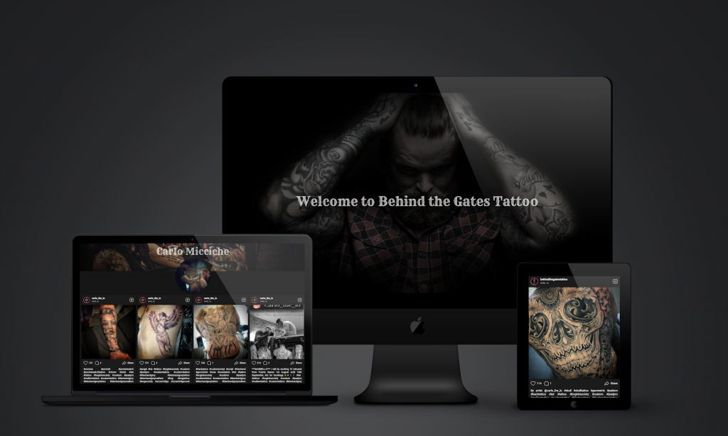 image of freelance web design project in bristol behind the gates tattoo
