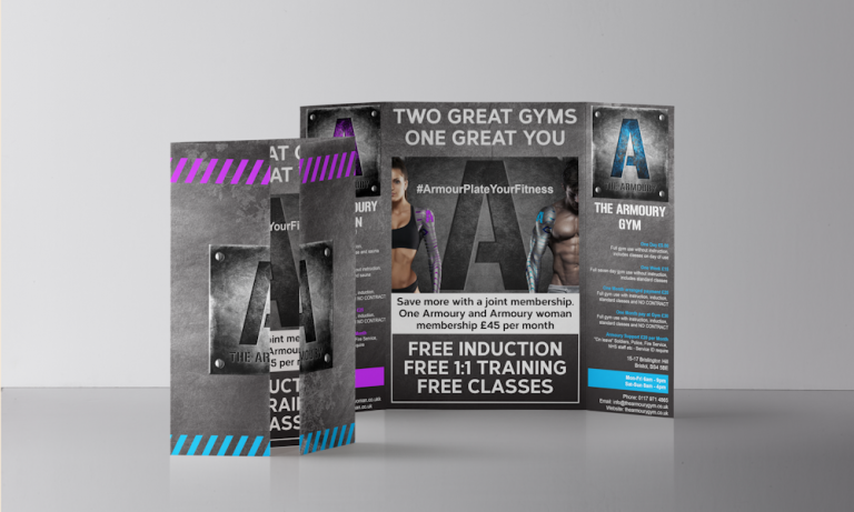 image of freelance web design project in bristol armoury gym leaflets