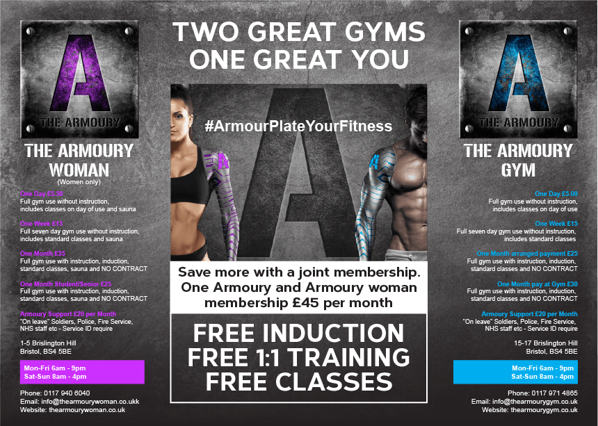 Gate Leaflet design for The Armoury Gym 1
